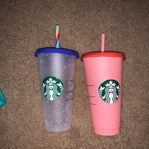 Starbucks Reusable color changing cups set.